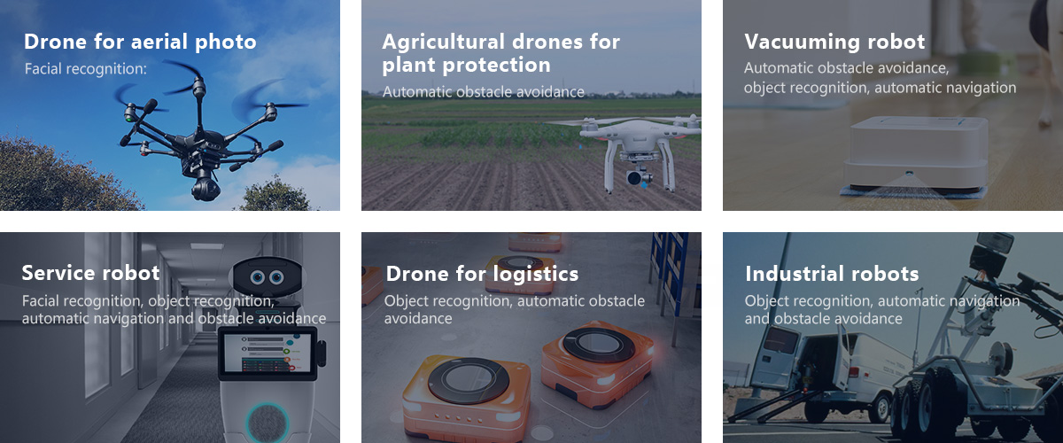 Drone for aerial photo, Agricultural drones for plant protection, Vacuuming robot, Service robot, Drone for logistics, Industrial robots